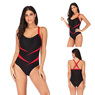 35823193ba Image Unavailable. Image not available for. Color: Beautiful - Fashion  Women's Athletic Training Gradient Criss Cross Back One Piece Swimsuit ...