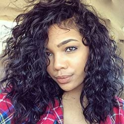 Luwigs Short Bob Deep Curl Lace Front Wig Brazilian Human Virgin Hair for Black Women 130% Density with Combs and Straps (16 inches, Deep Curl)