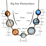 7 Planet Necklace Sun Moon Galaxy Space Necklace Dangle Planets Solar System Charm Necklace for Women and Girls (Silver Necklace) (Color: N-silver)
