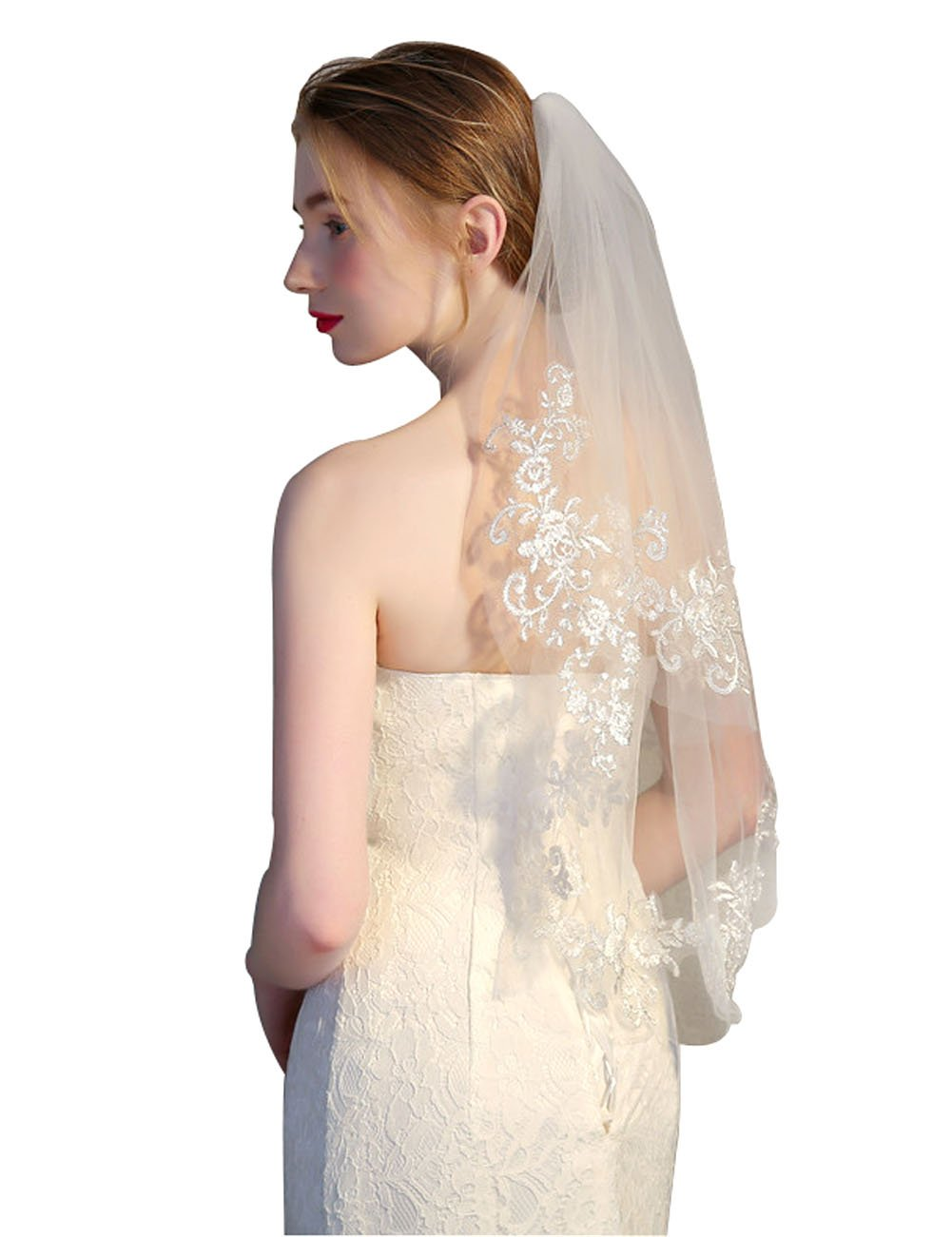 GRACIN Women's Lace Tulle Appliqued Edge Bridal Wedding Veil with Comb (Two layers, Ivory)