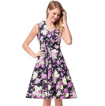 Mujeres solapa sin mangas de cintura alta vestido de oscilación floral Dulce Colormatch Hepburn estilo correa