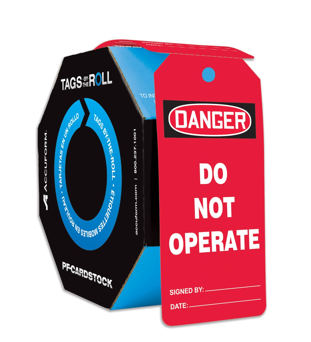 """Accuform TAR142 Tags by-The-Roll General Safety Tags, Legend""""Danger DO NOT Operate"""", 6.25"""" Length x 3"""" Width x 0.010"""" Thickness, PF-Cardstock, Black/White on Red (Pack of 250) 61xADsEyKpL._SL1200_"""