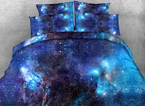 Comforter Sets Queen Size,Luxury Blue Galaxy Bedding,1 Black Bed Sheet,1 Quilt/Duvet Covers Queen,1 White Comforter/Bedspread,2 Pillow Shams,5 Piece Soft 3D Bedding Sets King/Full/Twin,Blue by Ammybeddings