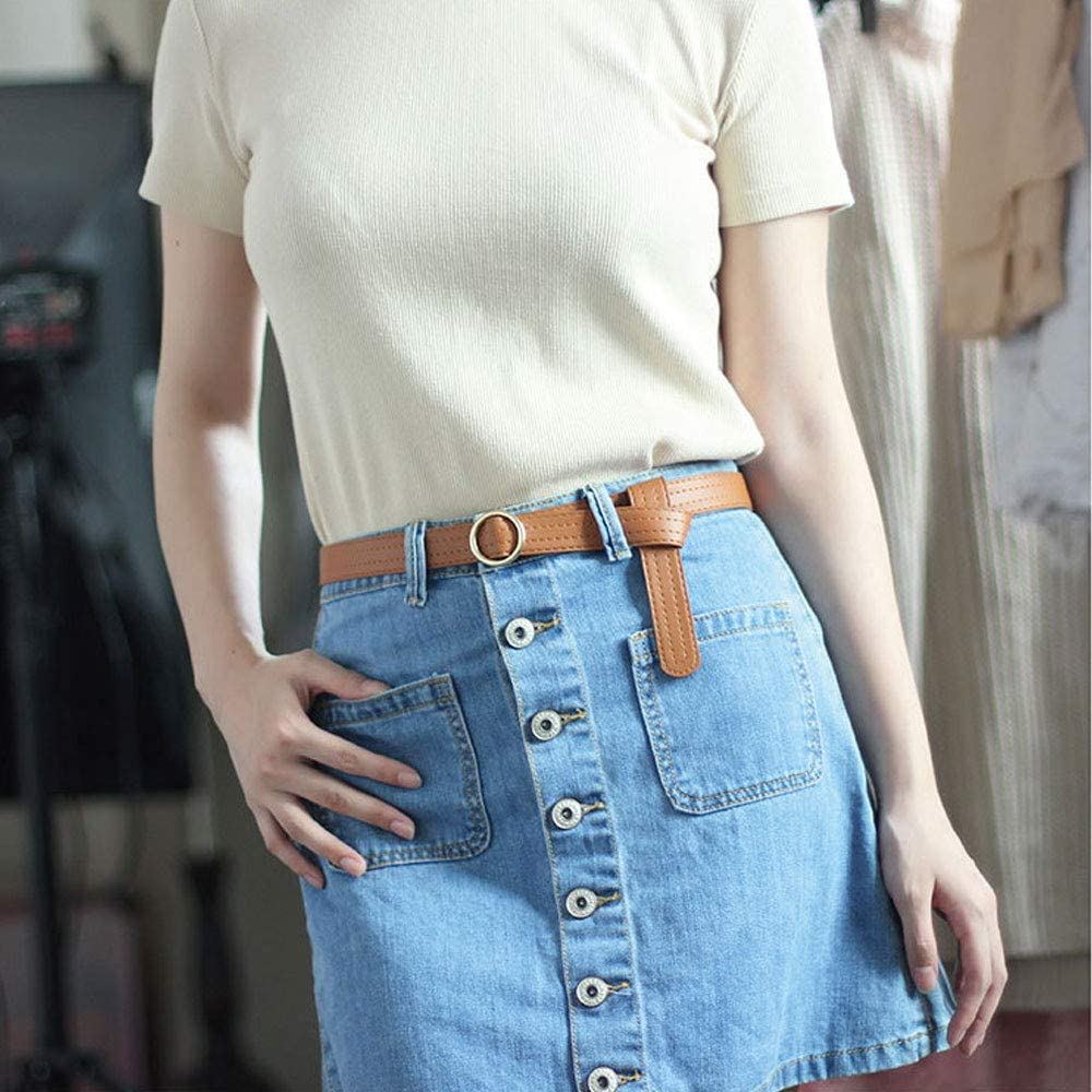 1Pcs Fashion Women Soft PU Leather Belt for Jeans Pants with Metal Round Button No Holes Ladies Leather Waist Belt