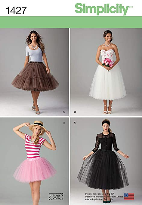 Simplicity 1427 Size D5 Misses Tulle Skirt in 3 Lengths Sewing Pattern, Multi-Colour