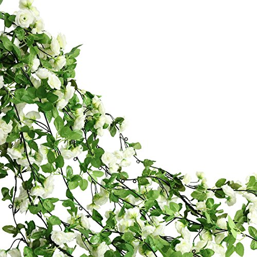 Htmeing 67 Inch Silk Rose Garland Artificial Rose Vine with Green Ivy Leaves for Home Hanging Wedding Decor,Pack of 2 (White)