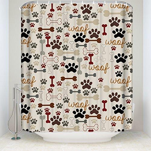 Sea Secret 60X72inches Dog Paws and Bones Pattern Bathroom S
