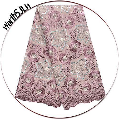 WorthSJLH Embroidery Swiss Cotton African Lace Fabric Baby Pink Blue Nigerian Lace Fabric 2019 Bridal Lace Fabric LF942 (Lilac)