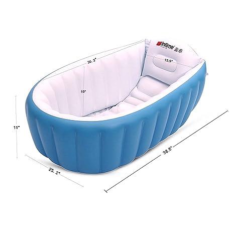 FLYMEI Global – Bañera hinchable, piscina hinchable, barreño para niños y bebés blanco azul