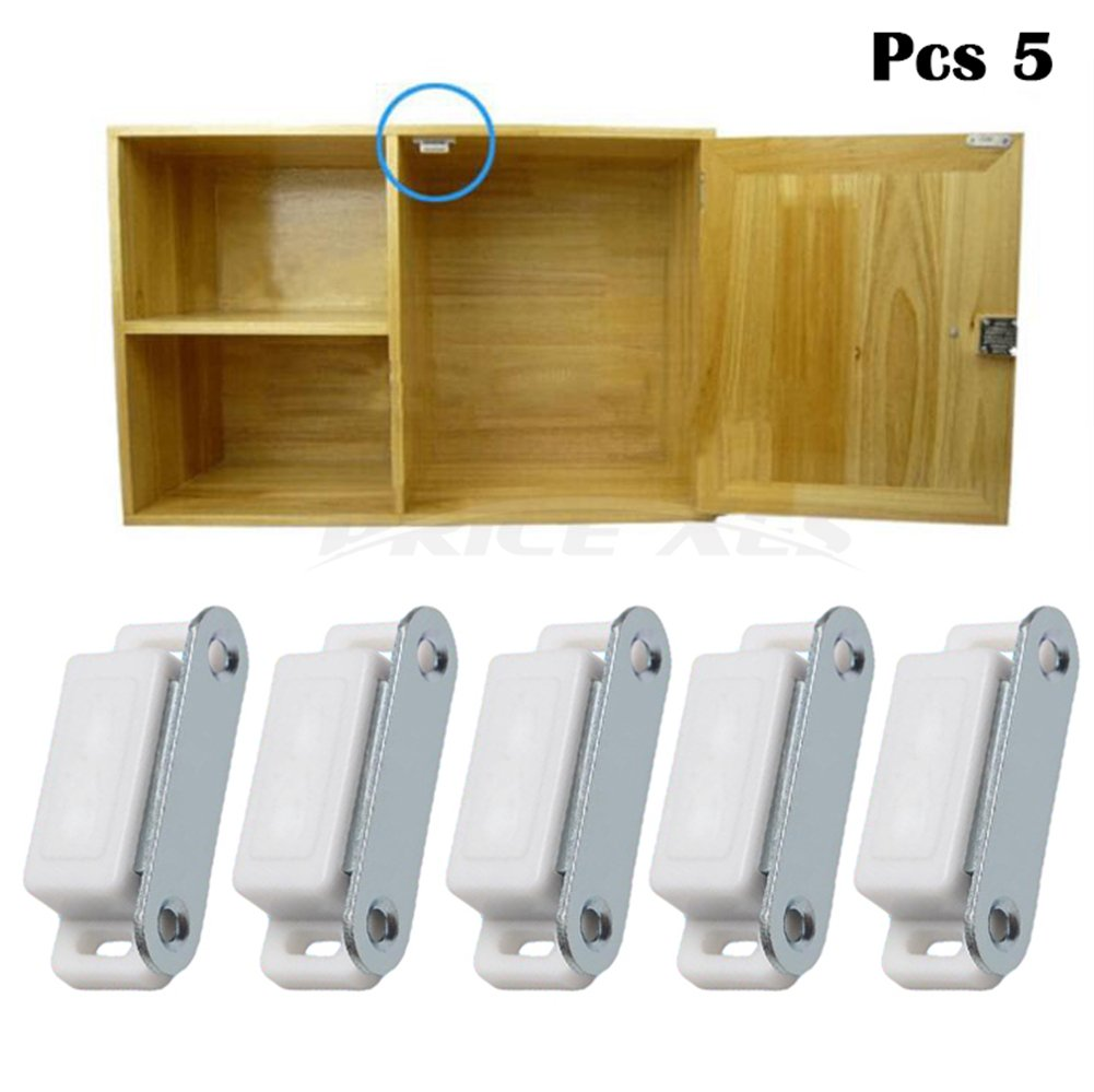Magnetic Door & Cabinet Latch Catch w/Mounting Screws, Rustproof Stainless Steel Extra Strong Heavy Duty Catch Kitchen Cupboard Touch Latch Closures for Wardrobe Drawers Shutters (5, White)