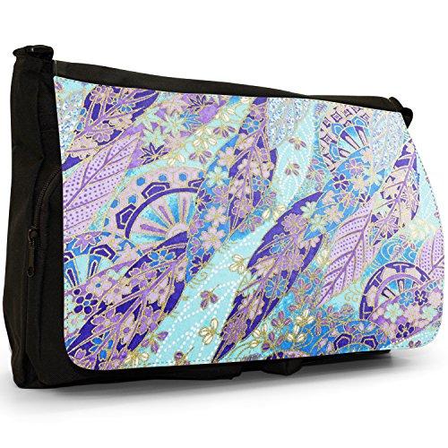 Bag Messenger Leaf Laptop Large Fan Shoulder Black Japanese Canvas Grunge School Blue wIqE1nc8