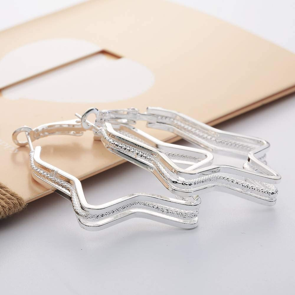 Xiang Ru Womens White Earrings Plated 925 Sterling Sliver Stud Party Jewelry Hoops
