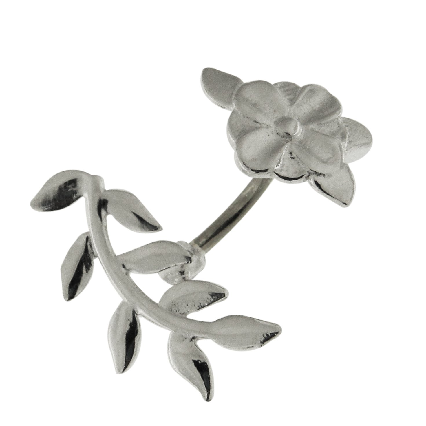 Plain Floral Flower with Leaf 925 Sterling Silver with Stainless Steel Eyebrow Bars