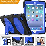 iPad Mini1/2/3 Case, SEYMAC Three Layer Heavy Duty Soft Silicone Hard Bumper Case with Built-in Stand High Impact Proof Full-body Protective Case for Apple iPad Mini 2nd Generation (Black/Blue)