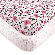 Hudson Baby 2 Piece Cotton Fitted Crib Sheet, Botanical, One Size
