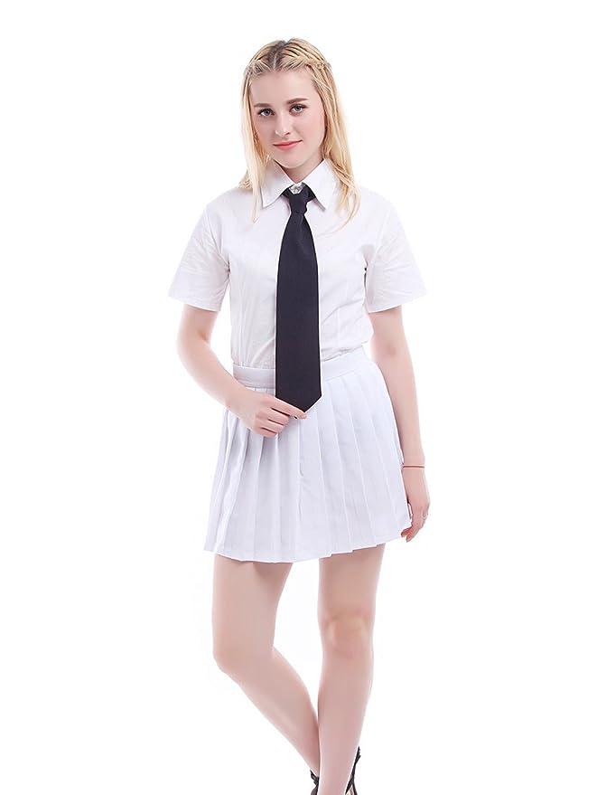 Uniforme de colegiala japonesa (incluye camisa, falda y corbata) Blanco GC29A+GC32G 42: Amazon.es: Ropa y accesorios