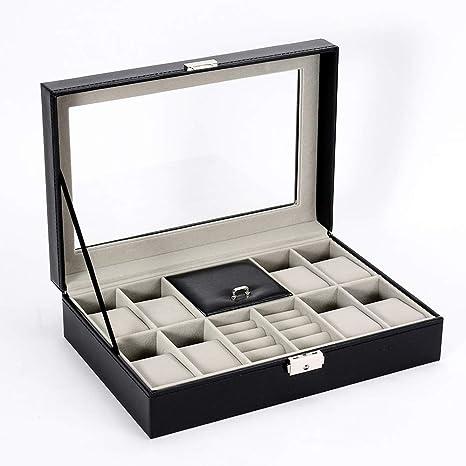Cajas para Joyas de Cuero Cajas de almacenaje para Pulseras Relojes Collares Anillos Cajas de Regalo Negro Ventana transparente Cofres para joyas Accesorios de joyería Bloqueable Cajas para relojes: Amazon.es: Deportes y