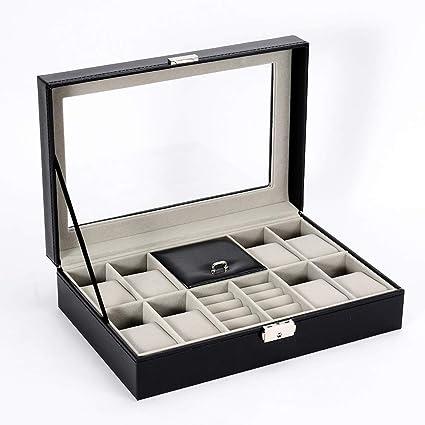 Cajas para Joyas de Cuero Cajas de almacenaje para Pulseras Relojes Collares Anillos Cajas de Regalo