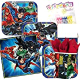 batman kitchen ware - Justice League Party Supplies Pack Serves-8 Plates Napkins Cups and Tablecloth- Superhero Justice League Party Supply Tableware Set Kit include Birthday Candles