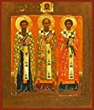 Three Holy Hierarchs Traditional Panel Russian Orthodox icon