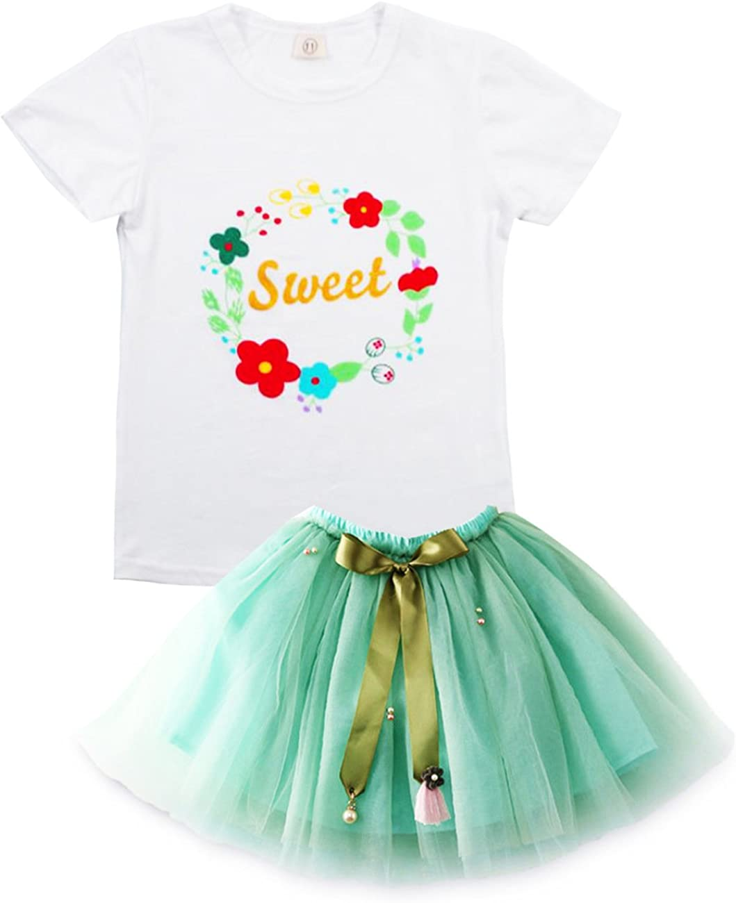Baby Kids Girls Princess Party Bubble Dress Cartoon Cat Casual Skirt Fit 2-7Year