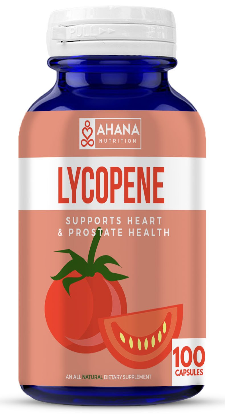 Ahana Nutrition Lycopene 50mg Capsules - Prostate Support, Aids Eyesight & Vision, Maintains Blood Pressure & Supports Brain Function (100ct)