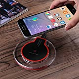 Emey Wireless Charger , Qi Wireless Charging Pad for Samsung S6 s7 s8 / Edge / Plus, Note 5, Nexus, Nokia Lumia 920, LG G3, HTC 8X / Droid DNA and All Qi-Enabled Devices (black emitter)