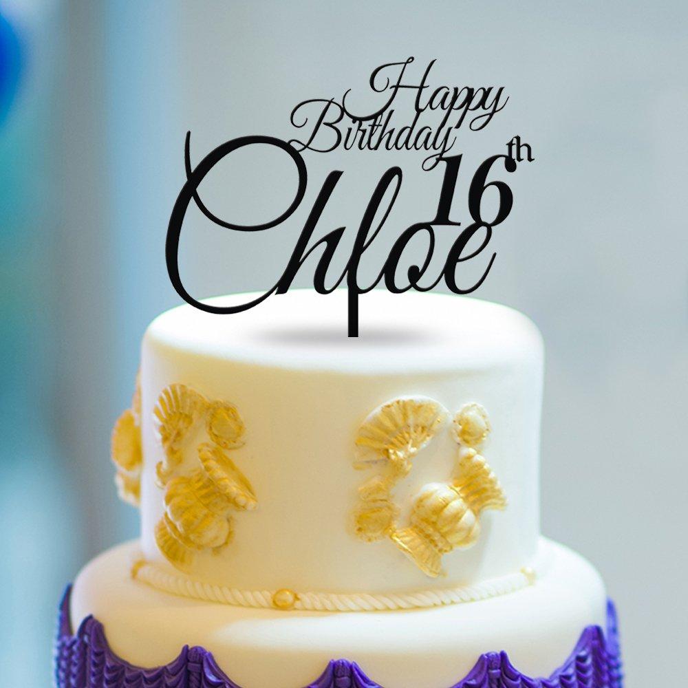Amazon.com: KISKISTONITE 16th Cake Toppers Beautiful Letters Custom ...