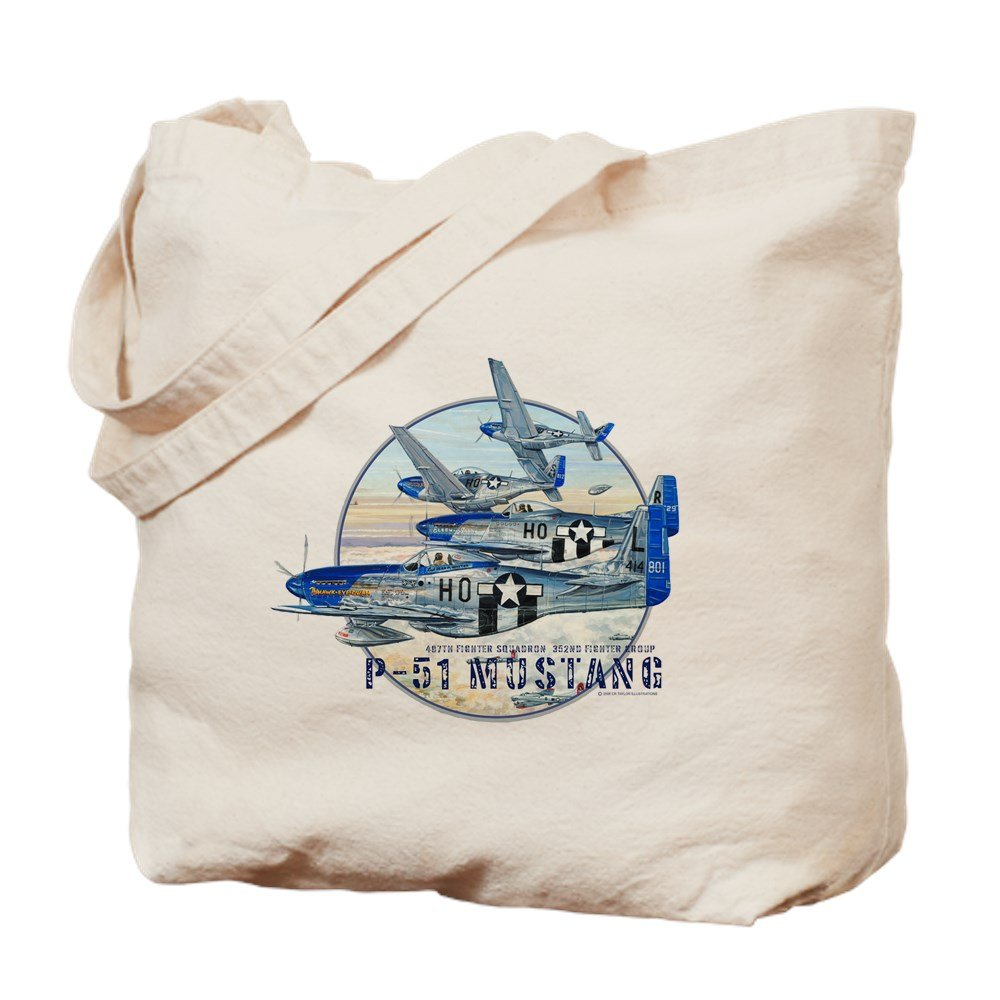 CafePress – 352 nd FG P51ムスタングMustang飛行機 – ナチュラルキャンバストートバッグ、布ショッピングバッグ B07BCP7RP3