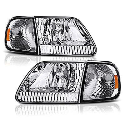 VIPMOTOZ Chrome Housing OE-Style Headlight & Turn Signal Side Marker Lamp Assembly For 1997-2003 Ford F-150 Pickup Truck & Expedition, Driver & Passenger Side: Automotive