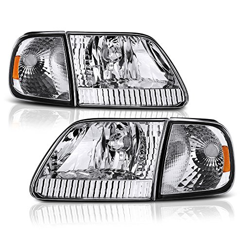VIPMOTOZ Chrome Housing OE-Style Headlight & Turn Signal Side Marker Lamp Assembly For 1997-2003 Ford F-150 Pickup Truck & Expedition, Driver & Passenger ()