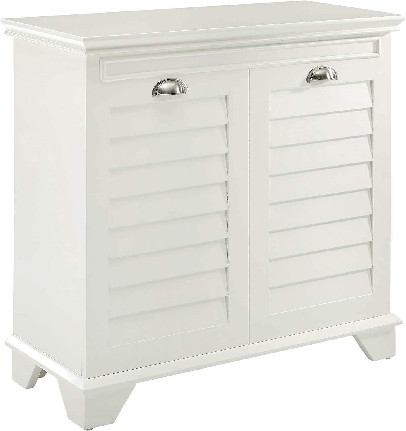 Crosley Furniture Lydia Two-Compartment Linen Hamper, White