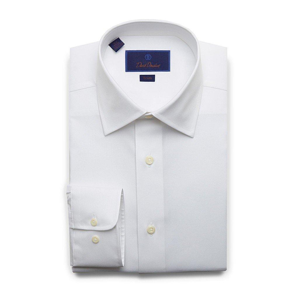 David Donahue Men's Trim Fit Super Fine Twill Dress Shirt, White, 17.5'' Neck 36/37'' Sleeve