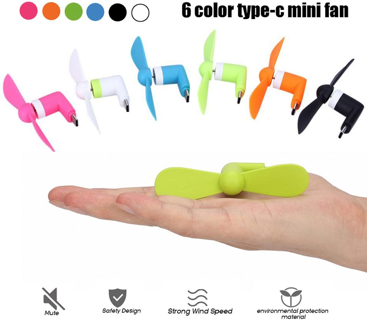 Swallowzy USB C Ventiladores de teléfono, mini portátil Tipo-C ...