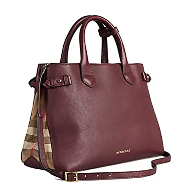 0ab508f34c8 Amazon.com  Tote Bag Handbag Authentic Burberry Medium Banner in Leather  and House Check MAHOGANY RED Item 39630371  Shoes