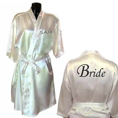 Varsany White Mother Of The Bride Satin Rhinestone Bathrobe ...