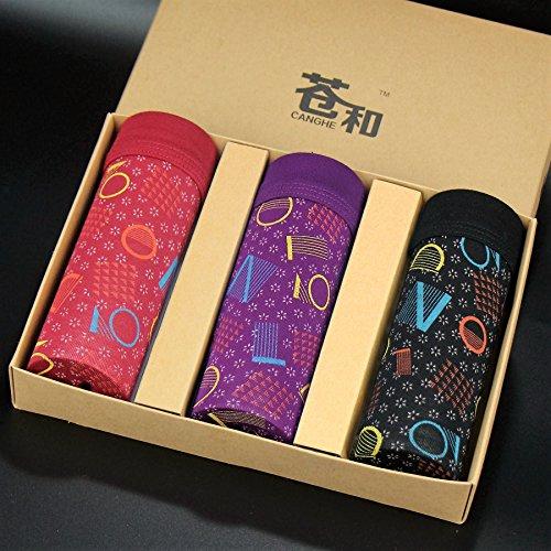 Calzoncillos ropa interior de fibra de bambú transpirable tendencia personalidad delgadas apretadas Briefs 3pcs,c,XXL Greatlpk a