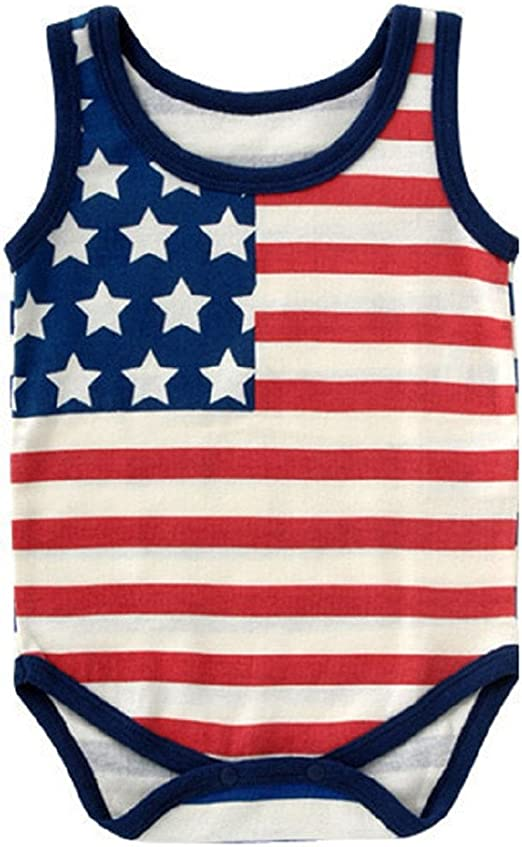 Zefeng Happy 4th of July Baby Boy Girl Outfits Bodysuit Romper+American Flag Stars Stripes Shorts Pant Clothes