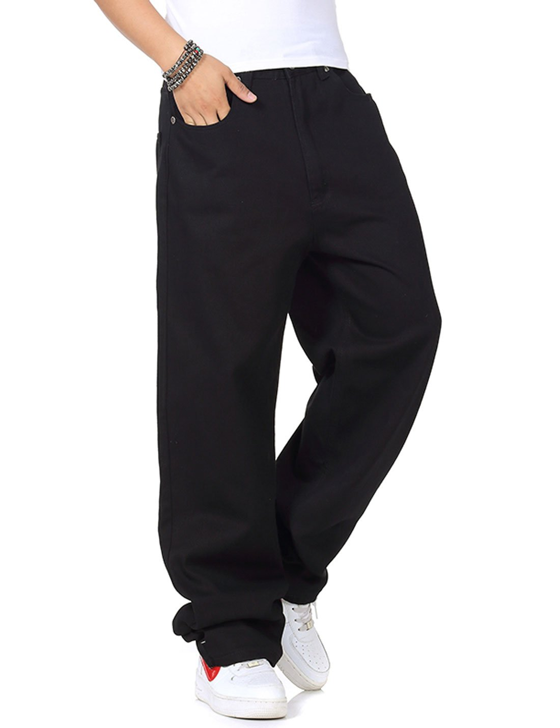 Yeokou Men's Loose Baggy Hip Hop Cotton Denim Work Pants Straight Leg Jeans?Black 40?