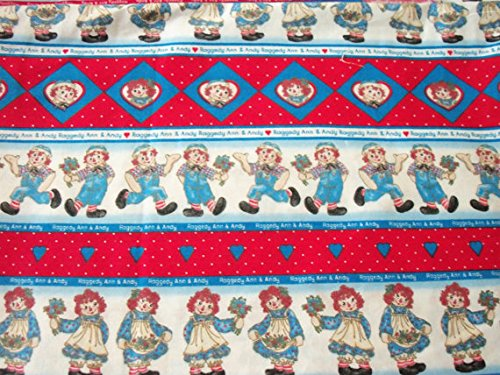 Raggedy Ann & Andy Fabric Sampler All in a Row HTF Rare By The Fat Quarter BTFQ New