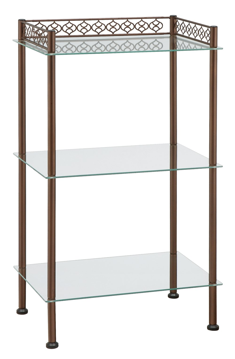 Neu Home 3-Tier Free Standing Tempered Glass Storage Tower with Bronze Finish