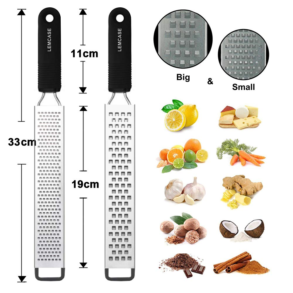 LEMCASE LEM-K-LZ Lemon Zester and Cheese Grater - Citrus, Parmesan, Chocolate, Nutmeg, Garlic, Ginger - Silicone Handle and Stainless Steel Blades with Protect, 33_cm by LEMCASE (Image #2)
