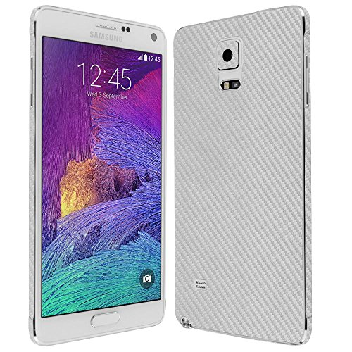 4 Screen Protector + Silver Carbon Fiber Full Body, Skinomi TechSkin Silver Carbon Fiber Skin for Samsung Galaxy Note 4 with Anti-Bubble Clear Film Screen ()