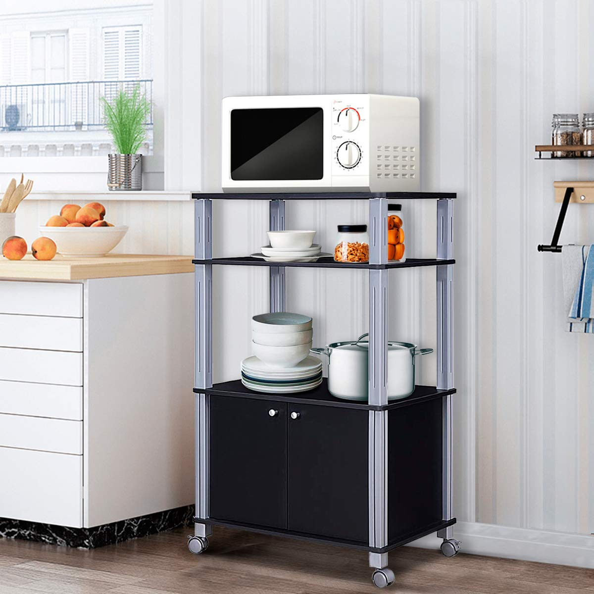 Giantex Rolling Kitchen Baker's Rack Microwave Oven Stand Utility Cart Multifunctional Display Shelf on Wheels with 2-Tier Shelf and Cabinet Spice Organizer for Kitchen Dining Room Furniture (Black) by Giantex (Image #2)