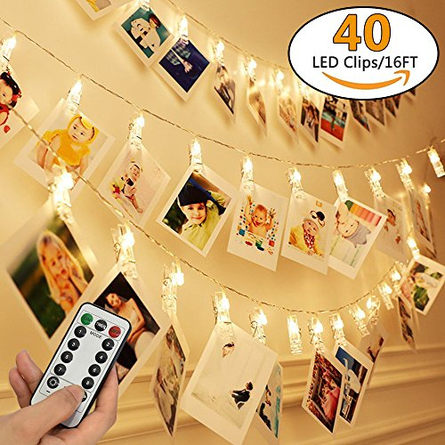 [Remote & Timer] 16 Feet 40 LED Photo Clip String Lights(Warm White) - 8 Modes Choice Battery Operated Photo Clips - Perfect for Hanging Pictures, Notes, Artwork (Chasing Clip Light)