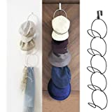 Door Wall Mounted Baseball Cap Hat Rack Holder, Metal Wire Stackable Hat Rack for Baseball Caps, Clothes, Bag, Scarf Hanging Hat Display (Black)
