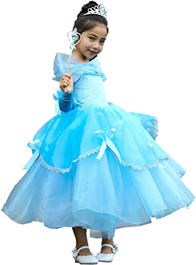 Princess Belle Cinderella Costume Party Gown Dress Up Frozen Girls Kids Clothes