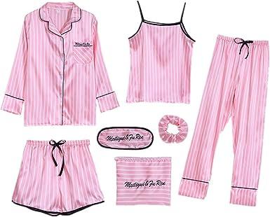 Verano Mujeres Sexy Seda Primavera y Otoño Pijamas Siete Piezas Rayas Delgadas De Las Mujeres Ropa