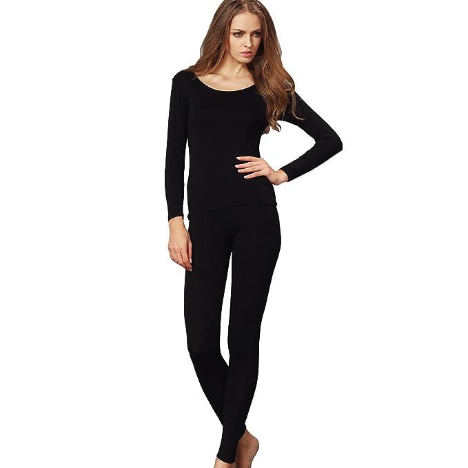 Liang Rou Women s Crewneck Stretch Top   Bottom Thin Underwear Set Black S  XS-S fb766f98182a