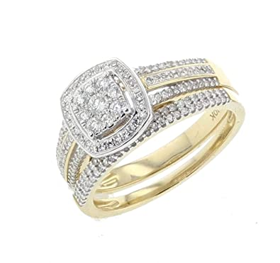 Amazon Com Womens Engagement Ring Diamond Bridal Rings Set 10k Gold